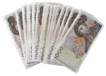 Många 1000-kr sedlar