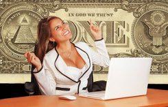 Affärskvinna med dollar i bakgrunden