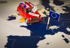 Brexit med en Mini UK Flagga