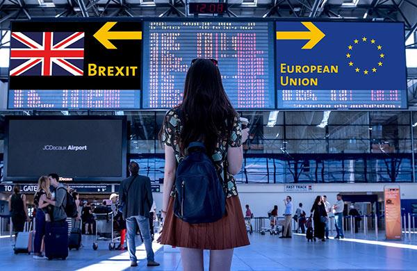 Brexit på en skylt på en flygplats