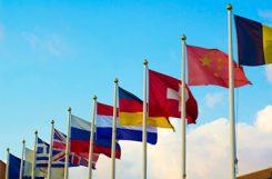 Flaggor från EU och Kina