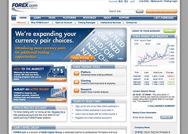 Forex.com's webbplats år 2007
