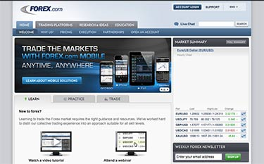 Forex.com's hemsida år 2012 - Mobil i fokus