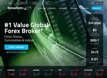 FP Markets startsidan