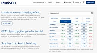 Handla index genom Plus500 med realtidspriser