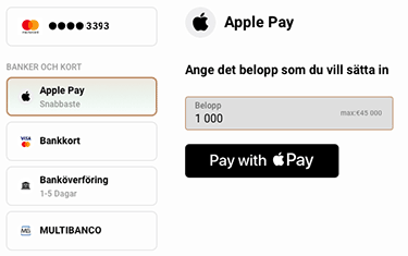 Insättning med Apple Pay på Capital