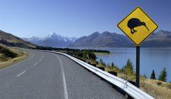 Kiwi skylt på Nya Zealand