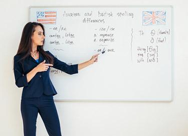 Visar likheter och skillnader mellan amerikansk och brittisk engelska