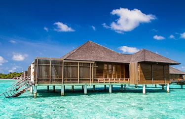 Vattenhydda på Maldiverna