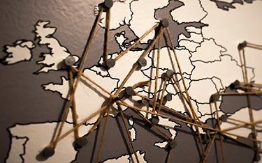 Markerad karta över Europa
