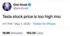Musk Tesla Tweet: Priset är för högt