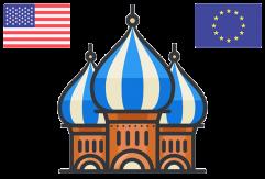 Röda torget med EU- och USA's flaggor
