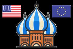 Röda Torget: EU och USA's flagga