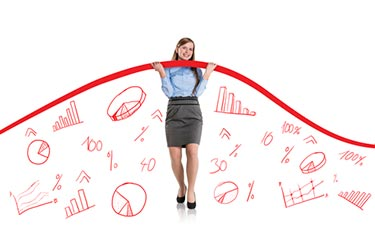 Kvinna som jobbar med statistik