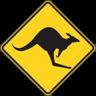Australien varningsskylt känguru