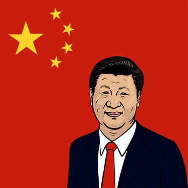 Xi Jinping med röd kina flagga